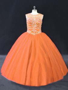 Scoop Sleeveless Tulle 15th Birthday Dress Beading Lace Up
