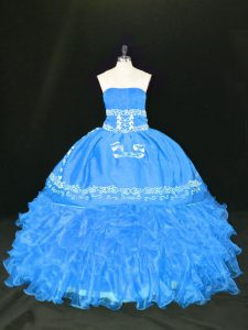 Blue Ball Gowns Organza Strapless Sleeveless Embroidery and Ruffles Floor Length Lace Up Quinceanera Dresses