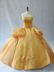 Gold Lace Up Straps Appliques Sweet 16 Dress Organza Sleeveless