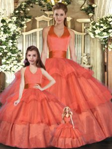 Free and Easy Orange Red Quinceanera Gown Sweet 16 and Quinceanera with Ruffled Layers Halter Top Sleeveless Lace Up