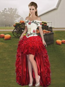 Eye-catching Organza Off The Shoulder Sleeveless Lace Up Embroidery and Ruffles Prom Party Dress in Red