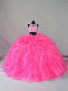 High Quality Hot Pink Sleeveless Beading and Ruffles Zipper 15 Quinceanera Dress