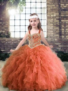 Excellent Rust Red Pageant Dress Wholesale Party and Wedding Party with Beading and Ruffles Straps Sleeveless Lace Up