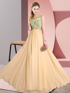 Low Price Peach Backless Scoop Beading and Appliques Damas Dress Chiffon Sleeveless