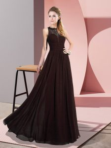 Cute Floor Length Zipper Prom Gown Brown for Prom and Party with Lace