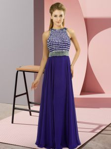 Purple Prom and Party and Military Ball with Beading Scoop Sleeveless Side Zipper