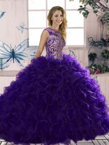Superior Purple Scoop Neckline Beading and Ruffles Sweet 16 Dress Sleeveless Lace Up