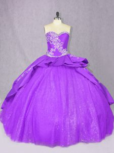 Custom Made Purple Lace Up Quinceanera Gown Beading Sleeveless Court Train