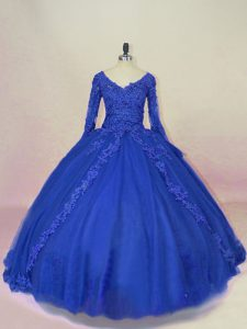 Long Sleeves Lace Up Lace and Appliques Sweet 16 Quinceanera Dress
