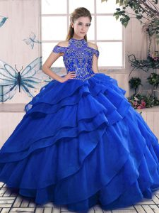Royal Blue Ball Gowns Beading and Ruffled Layers 15 Quinceanera Dress Lace Up Organza Sleeveless Floor Length