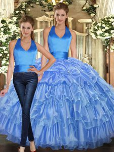Low Price Floor Length Baby Blue Vestidos de Quinceanera Organza Sleeveless Ruffles and Pick Ups