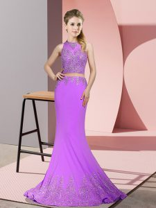 New Style Lavender Mermaid Beading and Appliques Zipper Satin Sleeveless