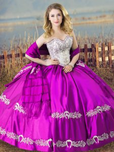 Designer Sleeveless Floor Length Embroidery Lace Up Sweet 16 Quinceanera Dress with Purple
