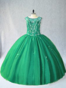 Stunning Sleeveless Tulle Floor Length Lace Up Quinceanera Gown in Green with Beading
