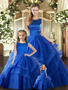 Royal Blue Ball Gowns Tulle Scoop Sleeveless Ruffled Layers Floor Length Lace Up Quinceanera Dresses