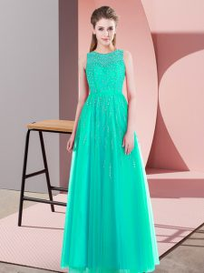 Deluxe Turquoise Prom Gown Prom and Party with Beading Scoop Sleeveless Side Zipper