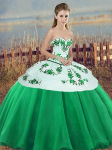 Sophisticated Tulle Sweetheart Sleeveless Lace Up Embroidery and Bowknot 15 Quinceanera Dress in Green