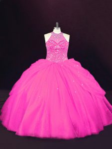 Sleeveless Floor Length Beading Lace Up Quinceanera Gown with Hot Pink