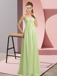 Fashionable Yellow Green Prom Gown Prom and Party and Military Ball with Beading Sweetheart Sleeveless Lace Up
