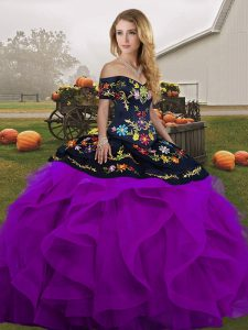 Attractive Tulle Off The Shoulder Sleeveless Lace Up Embroidery and Ruffles 15th Birthday Dress in Black And Purple