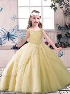 Custom Made Tulle Off The Shoulder Sleeveless Lace Up Beading Pageant Dress in Champagne