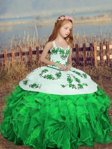 Green Organza Lace Up Pageant Dress Womens Sleeveless Floor Length Embroidery