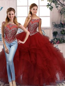 Amazing Scoop Sleeveless Organza Vestidos de Quinceanera Beading and Ruffles Zipper