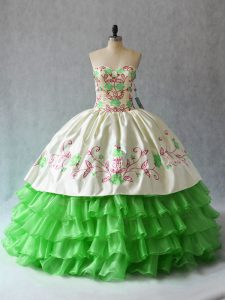 Sweetheart Sleeveless Quinceanera Gowns Floor Length Embroidery and Ruffled Layers Organza