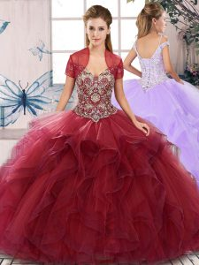Burgundy Ball Gowns Off The Shoulder Sleeveless Tulle Floor Length Lace Up Beading and Ruffles 15 Quinceanera Dress