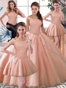 Fine Brush Train Ball Gowns 15th Birthday Dress Peach Off The Shoulder Tulle Sleeveless Lace Up