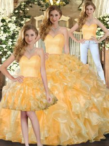 Sleeveless Floor Length Beading and Ruffles Lace Up Sweet 16 Dress with Gold