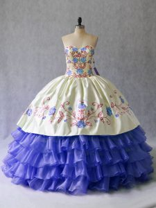Cute Blue Sweetheart Lace Up Beading and Embroidery Quinceanera Gown Sleeveless