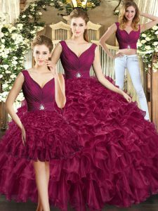 Super Burgundy Sleeveless Ruffles Floor Length Quinceanera Dress
