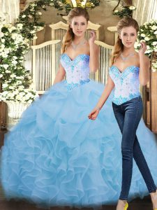 Gorgeous Blue Sweetheart Lace Up Beading and Ruffles Quinceanera Dress Sleeveless