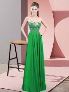 Graceful Sweetheart Sleeveless Zipper Prom Dress Green Chiffon
