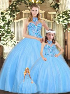 Top Selling Baby Blue Tulle Lace Up Quince Ball Gowns Sleeveless Floor Length Embroidery