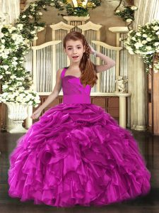 High Quality Sleeveless Lace Up Floor Length Ruffles Pageant Dress for Womens