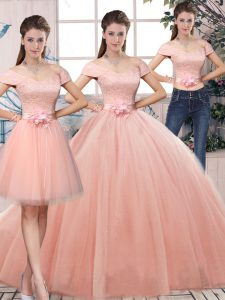 Off The Shoulder Short Sleeves Tulle Quinceanera Dresses Lace and Hand Made Flower Lace Up