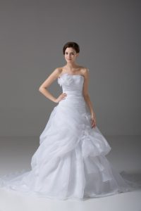 Stunning White A-line Organza Strapless Sleeveless Pick Ups and Hand Made Flower Lace Up Wedding Gowns Brush Train