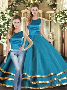 Edgy Floor Length Lace Up Quinceanera Dress Teal for Military Ball and Sweet 16 and Quinceanera with Ruffled Layers