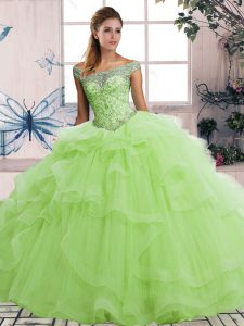 Yellow Green Sleeveless Tulle Lace Up Sweet 16 Dress for Military Ball and Sweet 16 and Quinceanera