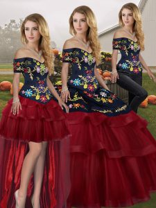 Off The Shoulder Sleeveless Sweet 16 Dress Brush Train Embroidery and Ruffled Layers Wine Red Tulle