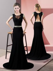 Exceptional Black Satin Backless Evening Wear Short Sleeves Sweep Train Sequins