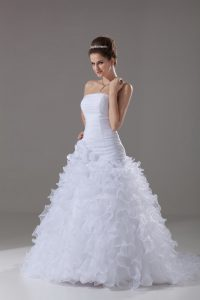 White A-line Strapless Sleeveless Organza Brush Train Lace Up Ruffles Wedding Gown
