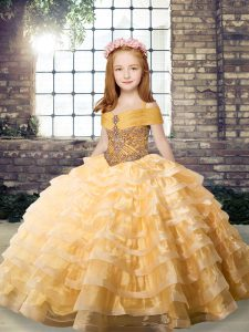 Cheap Orange Sleeveless Organza Brush Train Lace Up Little Girls Pageant Dress Wholesale for Party and Military Ball and Wedding Party