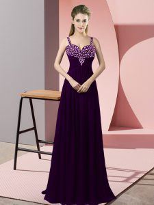 Chiffon Straps Sleeveless Zipper Beading Pageant Gowns in Dark Purple