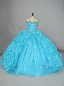 High Quality Blue Sleeveless Organza Lace Up Quinceanera Dresses for Quinceanera