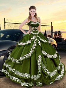 Fine Embroidery and Ruffled Layers Quinceanera Gown Olive Green Lace Up Sleeveless Floor Length