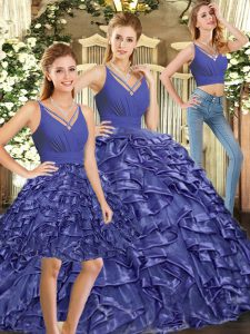 Lavender Ball Gowns Ruffles 15 Quinceanera Dress Backless Organza Sleeveless Floor Length