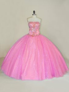 Super Pink Sleeveless Tulle Lace Up Vestidos de Quinceanera for Sweet 16 and Quinceanera